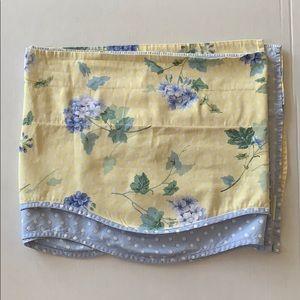 Waverly hydrangea blue polkadot &yellow curtain